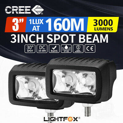 2x 3inch CREE LED Work Lights Spot Beam Work Driving Light Bar Offroad Truck SUV