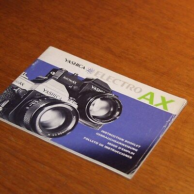 Instructions for YASHICA ELECTRO AX SLR 35mm camera in 4 languages