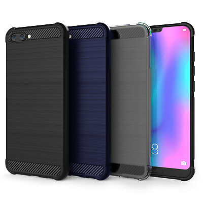 Huawei Honor 10 Carbon Fibre Best TPU Silicone Gel Case Protection Phone Cover