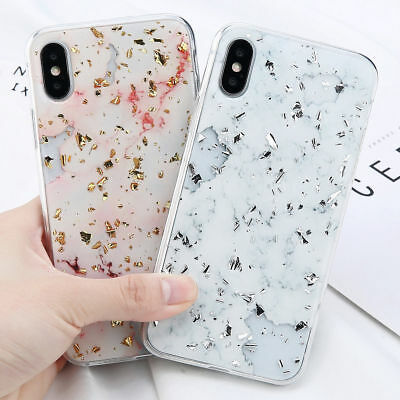 Bright Marble Pattern Phone Case For iPhone X 8 7 6s 6 Plus Sparkle Soft Shell