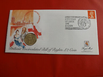 *Grossbritannien Numisbrief 1989 * BILL OF RIGHTS * mit 2 Pound 1989 (ALB21)