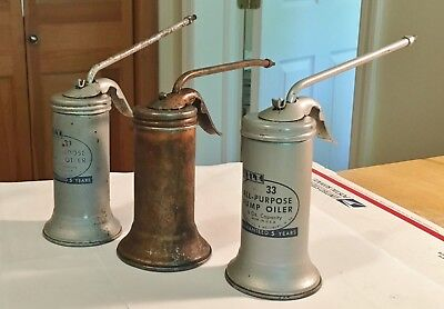 "Vintage 1960's Eagle ""Pump"" Oiler Cans No.33 Made In U.S.A. Original+Beauties!"