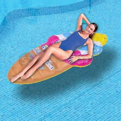 Big Inflatable Ice Cream Lounger Air Mat Pool Float Lilo Swimming Pool Mattress