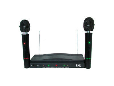 Kit Coppia Microfoni Karaoke Wireless Con Centralina Vhf Bicanali At-306 Canta
