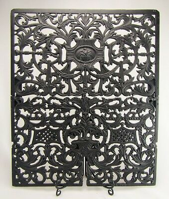 Highly Ornate Antique Victorian Cast Iron Fireplace Summer Cover - Arch. Salvage