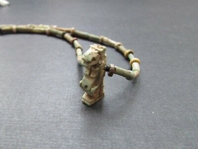 NILE Ancient Egyptian Turaret Amulet Mummy Bead Neckace ca 600 BC