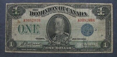 1923  Dominion of Canada DC $1 Dollar Note Circulated -- Blue Seal!