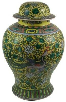 Antique 18th Century Chinese Famille Jaune Porcelain Covered Jar