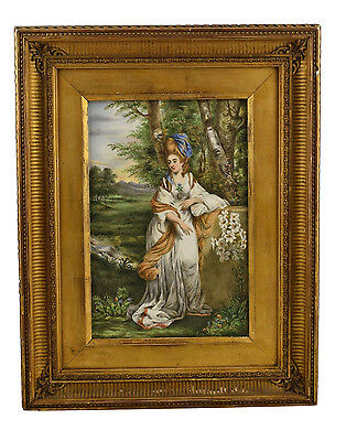 Large Antique 19th Century Mourning Painting on Mintons Porcelain Tile