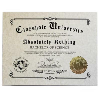 Classhole Humor Novelty Diploma - Absolutely Nothing