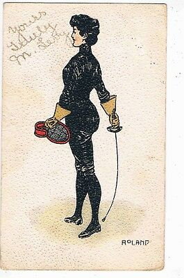 FENCING - CHROMO LITHO - A LADY FENCER ILLUSTRATED BY ROLAND, c1905