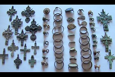 GENUINE Ancient WeddingBronze RINGS,Crosses,RINGS Fragments,Buttons-DETECTOR (2)