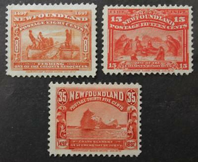 Newfoundland #67, 70 & 73, Mint No Gum Lot Of 3 Resources Issue 1897