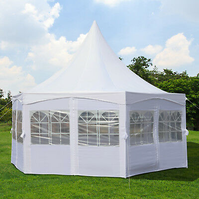 Pagoda Party Tent Deluxe Wedding Canopy Garden w/ Removable Walls White