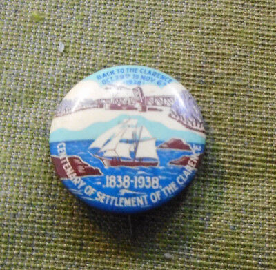 #D382.   1839-1938  Settlement Of Clarence Nsw Area  Tin Badge