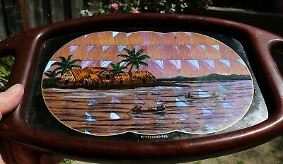 """Art-Deco Butterfly Wing Souvenir Tropical Hardwood Tray from Panama 17"""""""