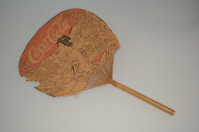Very Rare Vintage Coca-Cola Oriental Bamboo/paper Advertising Hand Fan Sign Coke