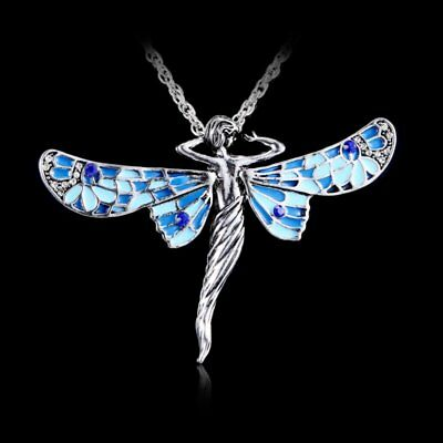 Retro Silver Dragonfly Angel Crystal Pendant Necklace Long Chain Women Jewelry