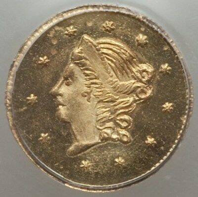 1859 Rd Liberty G50C California Fractional Gold / BG-1002 PCGS MS66 Finest Known