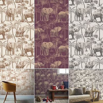 Elephant Grove Wallpaper Jungle Tropical Palm Tree Bird Paste The Wall Arthouse