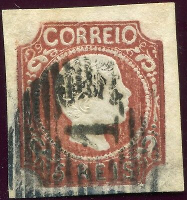 1856/8 - PORTUGAL - 5r RED-BROWN CURLY, 4 MARGIN, USED