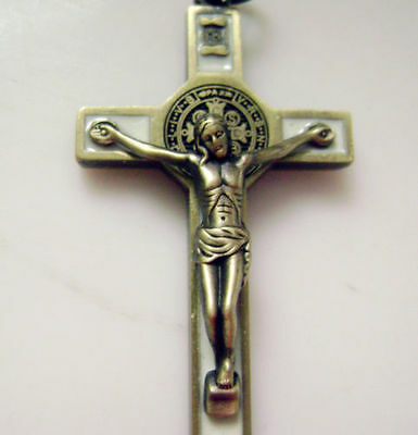 "Ancient bronze Enamel Crucifix 1.65 "" jesus cross Catholic rosary pendant"