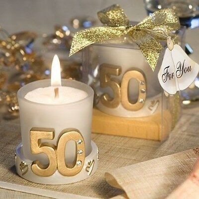 50 Gold 50th Birthday Party  & Anniversary Candleholder Party Gift Favors