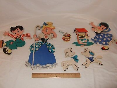 1950's Vintage Mother Goose LITTLE BO PEEP Jack and Jill Pin Ups Childrens room