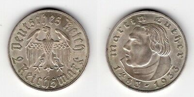 2 Reichsmark 1933 E   Luther