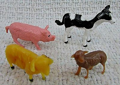 "Four Molded Plastic Toy 2"" Farm Animals Cow Calf Pink Pig Hog Ram Sheep FREE S/H"