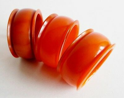 SET OF 3 RARE 1930's ART DECO BUTTERSCOTCH AMBER BAKELITE PHENOLIC NAPKIN RINGS