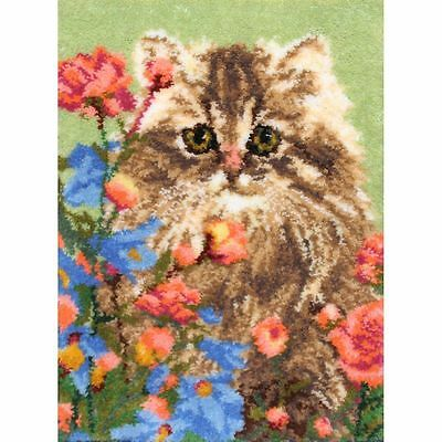 Flower Patch Kitty Latch Hook Kit Rug Making Kit MCG Textiles 33x30""