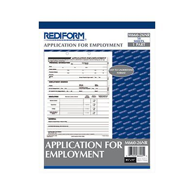 Rediform Application for Employment  8.5 x 11 Inches  per Pad M660-26N 1 pad