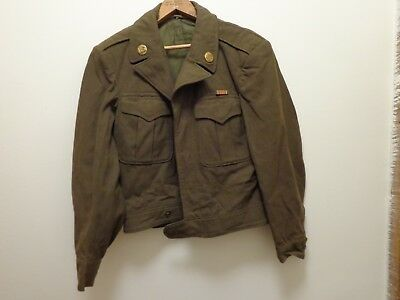 Vintage WW2 1944 US Military Army Men's Wool Field Jacket Ike 36R patches medals