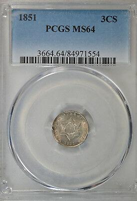 1851 3 cent silver, PCGS MS64