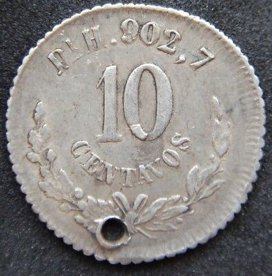 Mexico SCARCE 10 Centavos 1885 PiH, KM#403.8, Holed Coin XF+ Condition