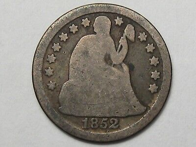 1852 US Silver Seated Liberty Dime.  #8