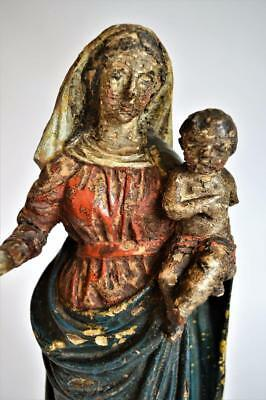 RARE ANTIQUE 18thC CARVED WOODEN POLYCHROME RELIGIOUS STATUE Madonna & Child
