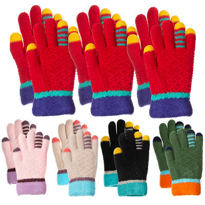 3 Pairs Outdoor Knit Gloves for Kids 5-8 Children Winter Cold Weather Gloves