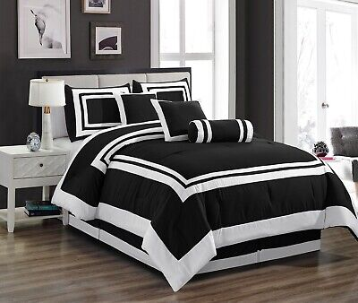 Chezmoi Collection Caprice 7-Piece Black White Square Hotel Style Comforter Set