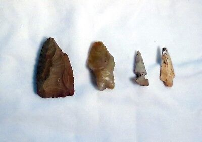 Lot of 4 Prehistoric Paleo Caveman Arrowheads Spear Points Found Germany 1940's