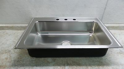 Just Manufacturing SL-2233-A-GR-3 28 x 16 In Bowl Drop-In Sink w/Faucet Ledge