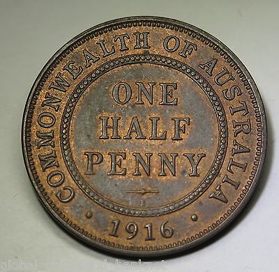 Australian  - 1916 Half Penny King George V -  RnB About Uncirculated