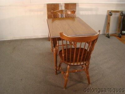 48125:Hitchcock Solid Oak Drop-Leaf Table & 2 Chairs