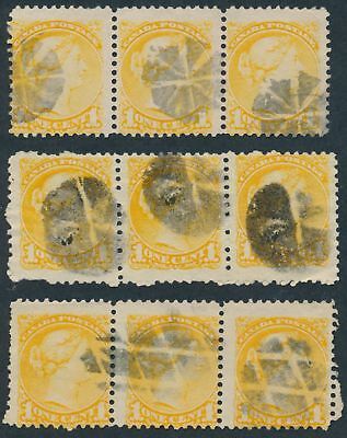 Canada Lot of Three #35 1c Small Queen Strips of 3 With Fancy Cork Cancels