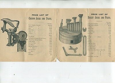 Vintage Illustrated Advertising CRISPIN & BAILEY JACKS Price List Whitcher Emery