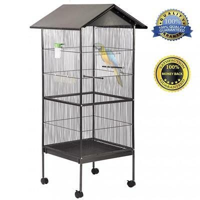 "New 61"" Large Parrot Bird Cage Play Top Pet Supplies,Perch Stand Two Doors BC43"