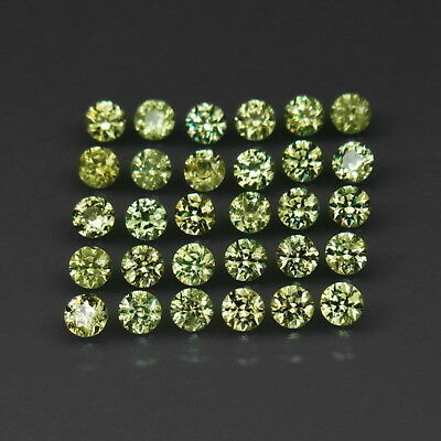 Round Diamond Cut 2.5 mm.Ordinary Rare! Demantoid Garnet Russia 30Pcs/2.30Ct.