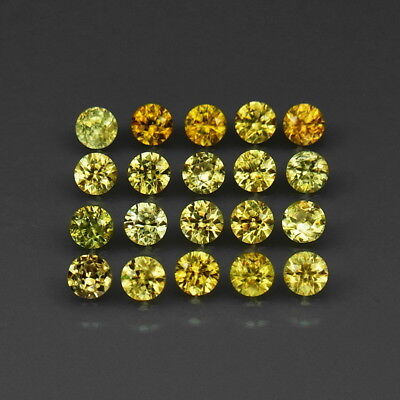Round Diamond Cut 3 mm.Ordinary Rare! Demantoid Garnet Russia 20Pcs/2.52Ct.