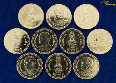 2018 Thailand 2 Baht Y#new New King Rama X Circulation Lot 10 Coin Unc Wholesale